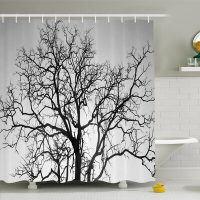 Forest Dead Old Branches Arms Limbs Sadness Symbol Tree of Life Offshoot Picture Shower Curtain Set Size: 75 H x 69 W
