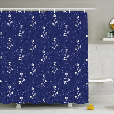 Floral Design Cute Little Dots and Flowers Country Home Art Shower Curtain Set Size: 70 H x 69 W