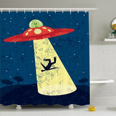 Outer Space Alien Abduction of Human Science Fiction Image Shower Curtain Set Size: 70 H x 69 W