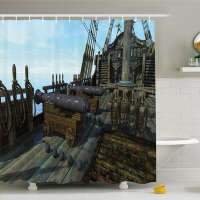 War Home Deck of Old Fashion Vintage Wooden Cannon Warship Naval State Force Pirate Shower Curtain Set Size: 70 H x 69 W