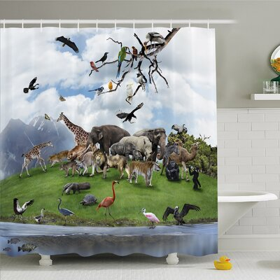 Wildlife, Tropic Animal Collage in the Valley with Lion Parrot Swans Elephants Flamingos Shower Curtain Set Size: 75