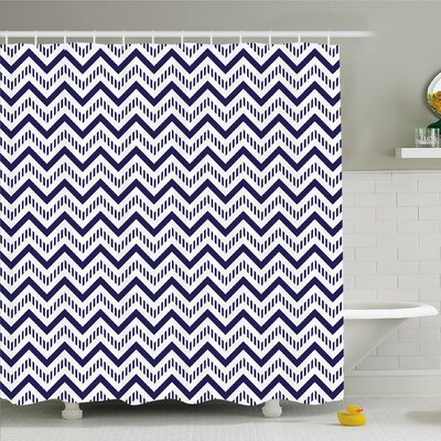 Chevron Zig Zag Striped Background Modern Art Work Shower Curtain Set Size: 75 H x 69 W
