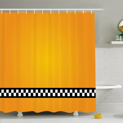 Taxi Cab Yellow with line of Checkers Classic Artdeco Arts Print Shower Curtain Set Size: 84 H x 69 W