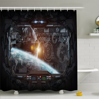 Outer Space, Control Panel of Cockpit Screen in Spaceflight Androids World Stardust Shower Curtain Set Size: 84 H x 69 W