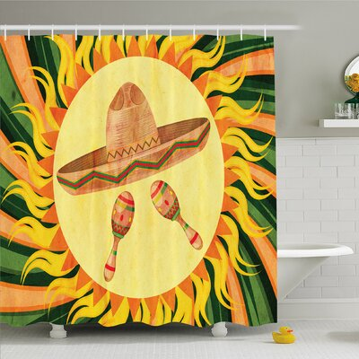 Mexican Ethnic Hat and Maracas in the Centre of Sun Figure Hippie Boho Home Shower Curtain Set Size: 70 H x 69 W