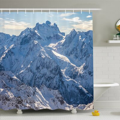 Lake Snowy Mountain Scene under Sky Winter Wilderness Untrodden Nature Print Shower Curtain Set Size: 84 H x 69 W