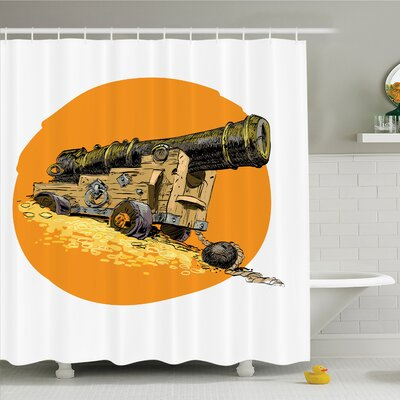 War Home Grunge Image of Pirate Treasure Giant Marine Gun on Carrier Shower Curtain Set Size: 70 H x 69 W