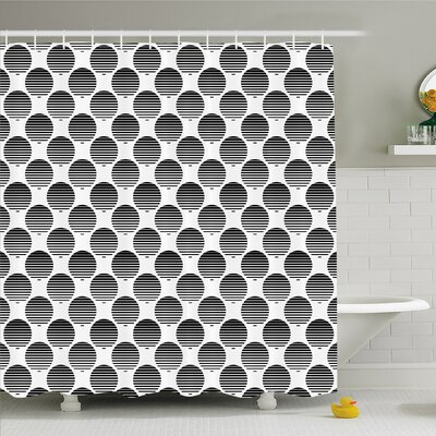 Geometric Circle Continuous Rippling Twist Inner Circular Horizontal Arc Model Shower Curtain Set Size: 75 H x 69 W