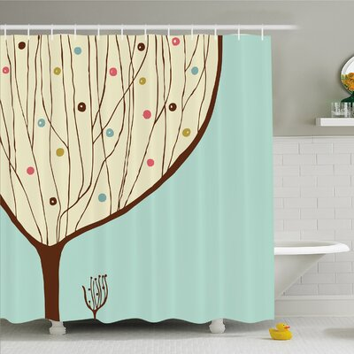 Modern Art Home Aqua Hand Drawn Decorative Funk Tree Form with Dots Doodle Lines Shower Curtain Set Size: 75 H x 69 W