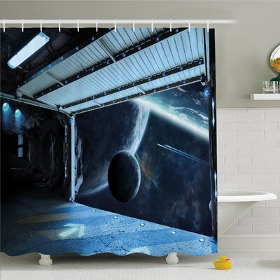 Outer Space, Moon before Station Planet Apocalypse Landing Alternative Humanoid Robots Shower Curtain Set Size: 70 H x 69 W