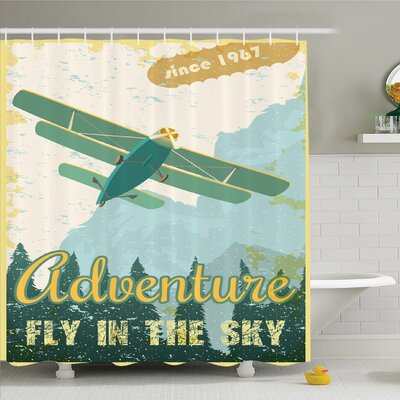 Vintage, Old School Plane in the Sky Trees Sixties Propeller Engine Historical Flight Murky Shower Curtain Set Size: 84 H x 69 W