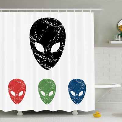 Outer Space Grunge Illustration of Surreal Alien Head with Motley Effects Threat Forms Shower Curtain Set Size: 84 H x 69 W