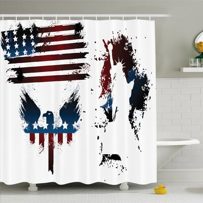 Bald Eagle Symbol and Stripes Stars Statue of Liberty Grunge Shower Curtain Set Size: 84 H x 69 W