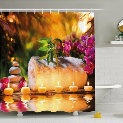Spa Asian Spa Joy in the Garden with Romantic Candles and Orchids Shower Curtain Set Size: 70 H x 69 W