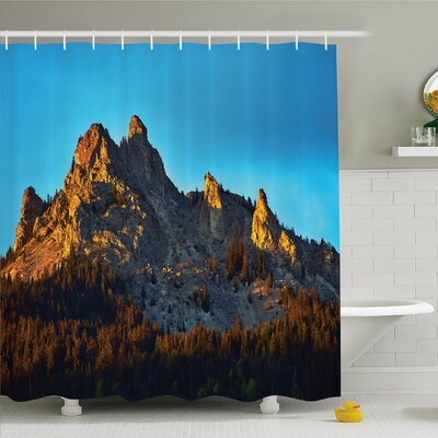 Lake Mountain with Pine Trees Forest in Summertime Sunlights on Rocks Illustration Shower Curtain Set Size: 84 H x 69 W
