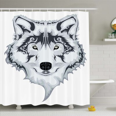 Tattoo Astonishing Big Cat Famous Symbol of the Courage Leopard Head with Spots Shower Curtain Set Size: 84 H x 69 W