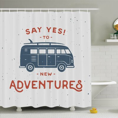 Vintage, New Adventures Typography with Little Van Hippie Style Life Free Spirit Design Shower Curtain Set Size: 84 H x 69 W