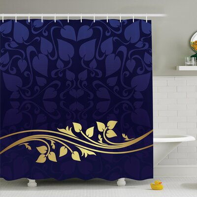 Romantic Royal Leaf with Floral Branch Shower Curtain Set Size: 84 H x 69 W