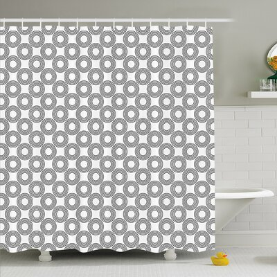 Geometric Circle Vinyl Records Inspired Concentric Rings with Curve Grids Shower Curtain Set Size: 70 H x 69 W