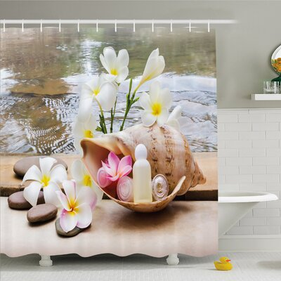 Spa Trio Bubble Bath with Cream and Liquid Soap with Cute Flowers and Sea Shell Shower Curtain Set Size: 70 H x 69 W