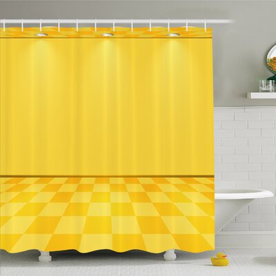 Shades of Lemon in Every Tone Chess Like Room with Lighting Image Shower Curtain Set Size: 70 H x 69 W