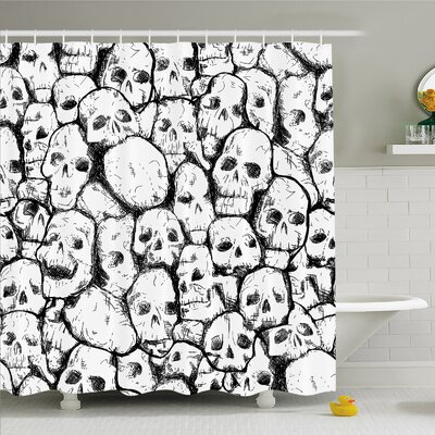 Skull Conjoined Head Motifs Spooky Fossils Shower Curtain Set Size: 75 H x 69 W
