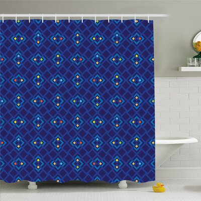 Geometric Mosaic Square Patterned Colorful Abstract Art Design Shower Curtain Set Size: 84 H x 69 W