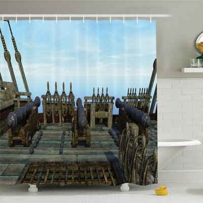 War Home Nostalgic Pirate Boat Deck with Old Guns Muzzles Front of Fight Power Shower Curtain Set Size: 84 H x 69 W