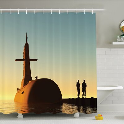 War Home Submarine below Evening Sky with Soldiers Nuclear Transport Navy Image Shower Curtain Set Size: 70 H x 69 W