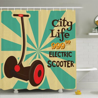Vintage, Segway Electric Scooter Icon on Foreground of Pop Art Style Stripe Urban Transport Shower Curtain Set Size: 84 H x 69 W