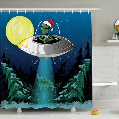 Outer Space Alien with Santa Claus Hat Kidnaps Tree for Christmas Night Airship Print Shower Curtain Set Size: 70 H x 69 W