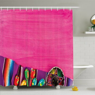 Mexican Folkloric Serape Blanket Charro Hat and Music Instruments  Shower Curtain Set Size: 84 H x 69 W