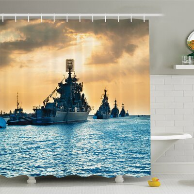 War Home Ship Convoy on Sea Carrying Supplies to Battlefield Enemy Coasts Shower Curtain Set Size: 70 H x 69 W