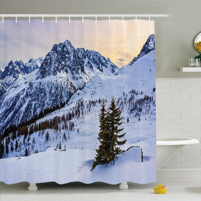 Farm House Landscape of Snowy Mountain at Sunset Pine Trees Tranquil in Winter Theme Shower Curtain Set Size: 84 H x 69 W