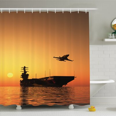 War Home Military Aircraft Jet and Armed Ship the Sea at Sunset Horizon Shower Curtain Set Size: 75 H x 69 W