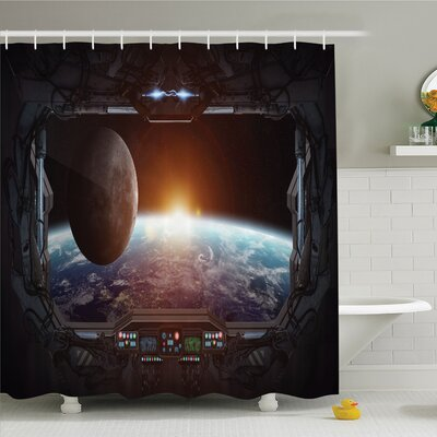 War Home Window View from Spaceship Station to Universe Celestial Discovery Fiction Shower Curtain Set Size: 70 H x 69 W