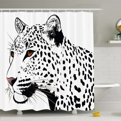 Tattoo The Head of Magnificent Rare White Tiger with Ocean Blue Eyes Image Shower Curtain Set Size: 70 H x 69 W