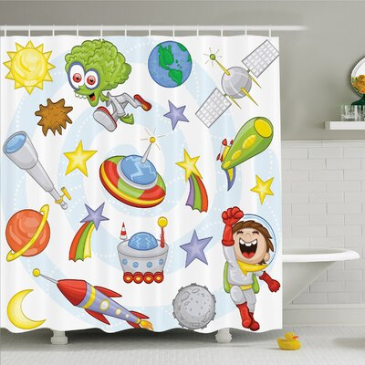 Outer Space Objects with Sun Earth Comet Stars Meteor Lunar Extraterrestrial Cartoon Shower Curtain Set Size: 84 H x 69 W