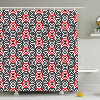 Geometric Circle Interlace Spiral Labyrinth Blind Oval Linked Mosaic Artistic Image Shower Curtain Set Size: 84 H x 69 W