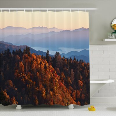 National Parks Home Sunrise at Mountains Pine Trees Covered on Hill Mist South Carolina Shower Curtain Set Size: 75 H x 69 W