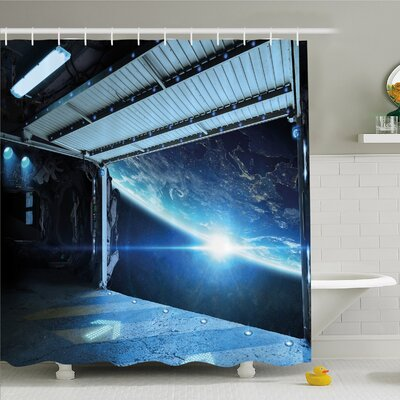 Outer Space, Interstellar Airlock Shuttle Runway Gate Journey to Stars Invasion View Shower Curtain Set Size: 75 H x 69 W