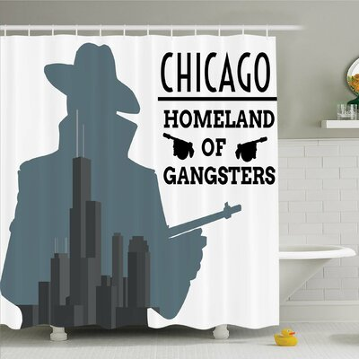 Vintage, Double Exposure of Gangster with Gun on Chicago Skyscrapers Homeland of Mafia Shower Curtain Set Size: 70 H x 69 W
