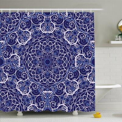 Kaleidoscope Circular Floral Modern Bohemian Shower Curtain Set Size: 84 H x 69 W
