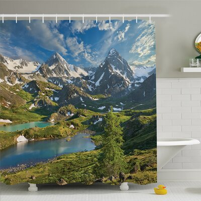 Nash Lake Between Snowy Altai Range of Mountains Siberia Meadow in Nature Artwork Shower Curtain Set Size: 75 H x 69 W