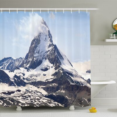 Nash Matterhorn Summit with Cloud Mountain Scenery Glacier Natural Beauty Shower Curtain Set Size: 70 H x 69 W