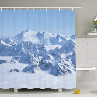 Farm House Snowy Summit of Alps over Clouds at Winter Wilderness in Nature Shower Curtain Set Size: 84 H x 69 W