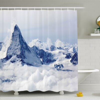 Lake Mountain Summit Magical Scenery Natural Paradise Pattern Shower Curtain Set Size: 70 H x 69 W
