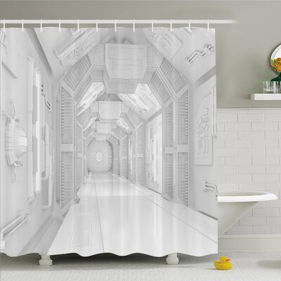Outer Space, Extraterrestrial Construction to Visit Astronomical Bodies Cosmonaut Flight I Shower Curtain Set Size: 84 H x 69 W
