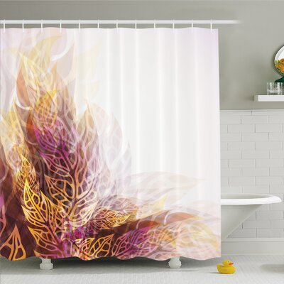 Modern Art Home Psychedelic Floral with Blurry Leaf Visuals and Dynamic Effects Shower Curtain Set Size: 84 H x 69 W
