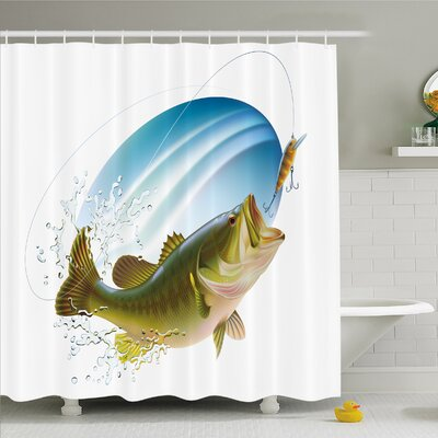 Sea Bass Catching a Bite in Water Spray Motion Splash Wild Image Shower Curtain Set Size: 84 H x 69 W